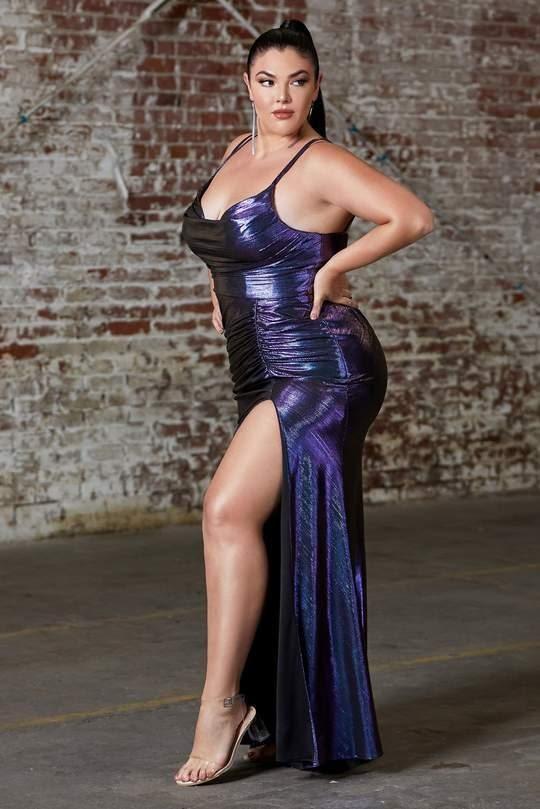 Cinderella Divine side slit sheath gown