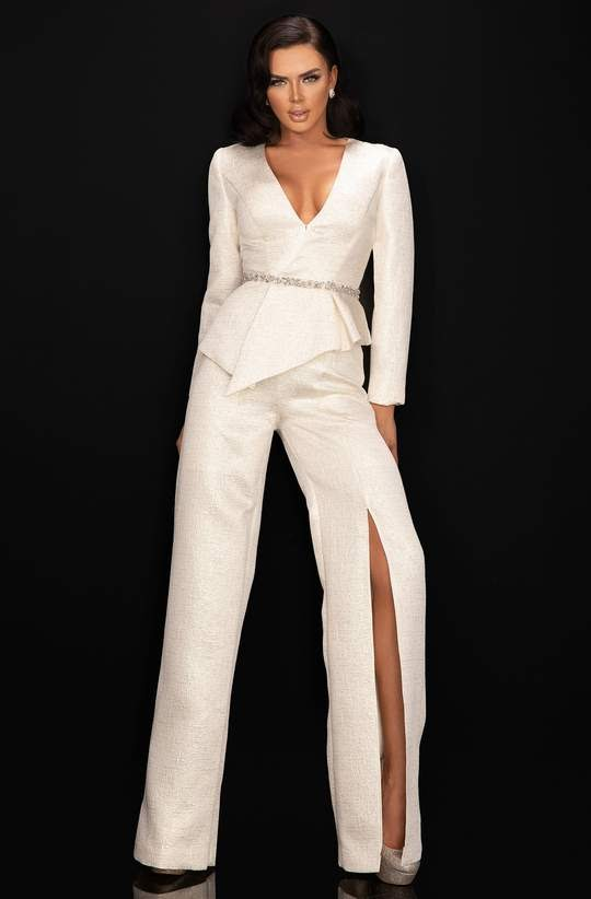 White Pantsuits with Subtle Bead Accents