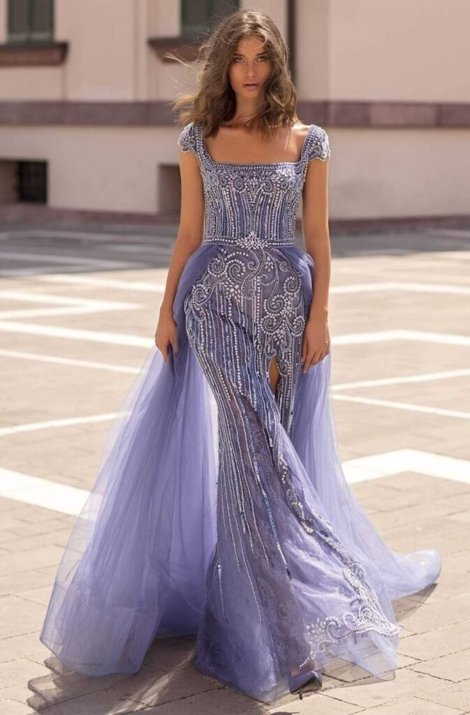 Embellished Gown With Overskirt