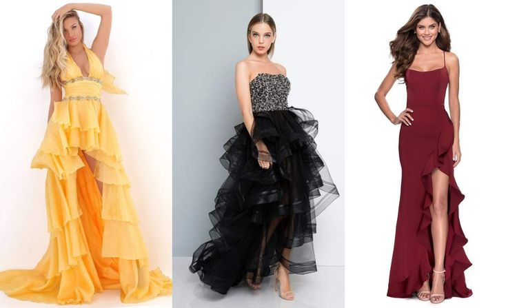 High-Low Dresses with Side-Slit Ruffle Skirts