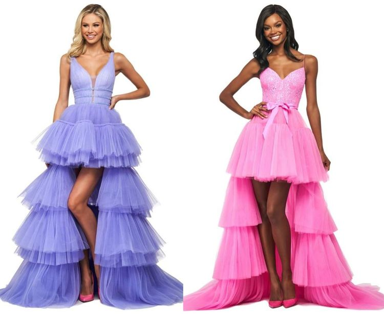 High-Low Tulle Dresses with Tiered Skirts