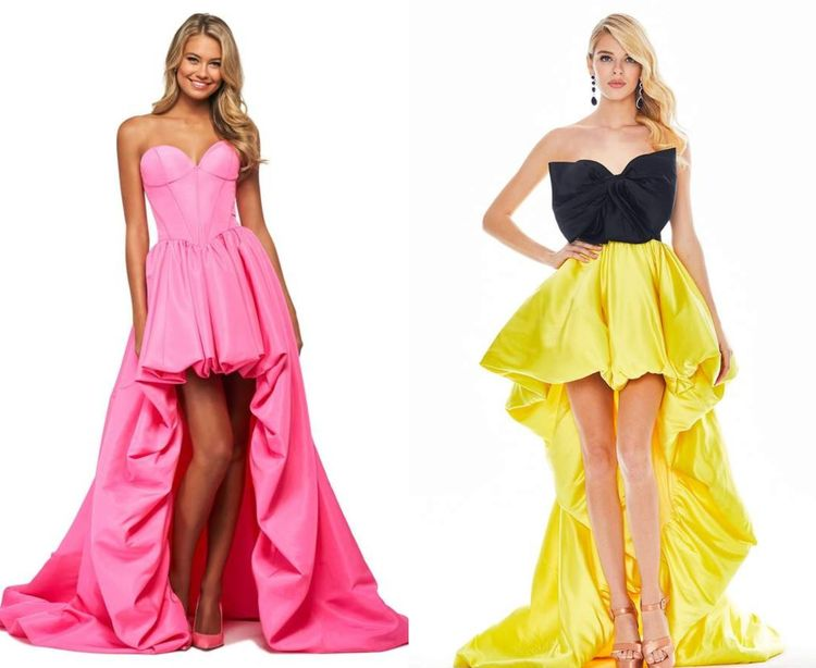 Sweetheart High-Low Dresses with Train Finish